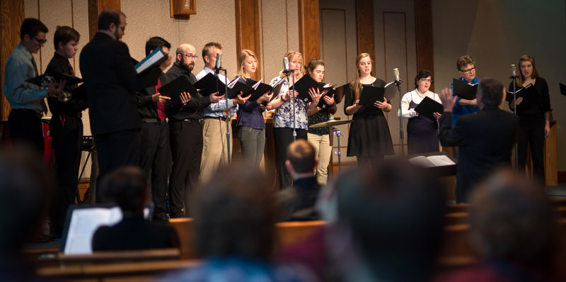 The Chapel choir sings at a Wednesday Worship service
