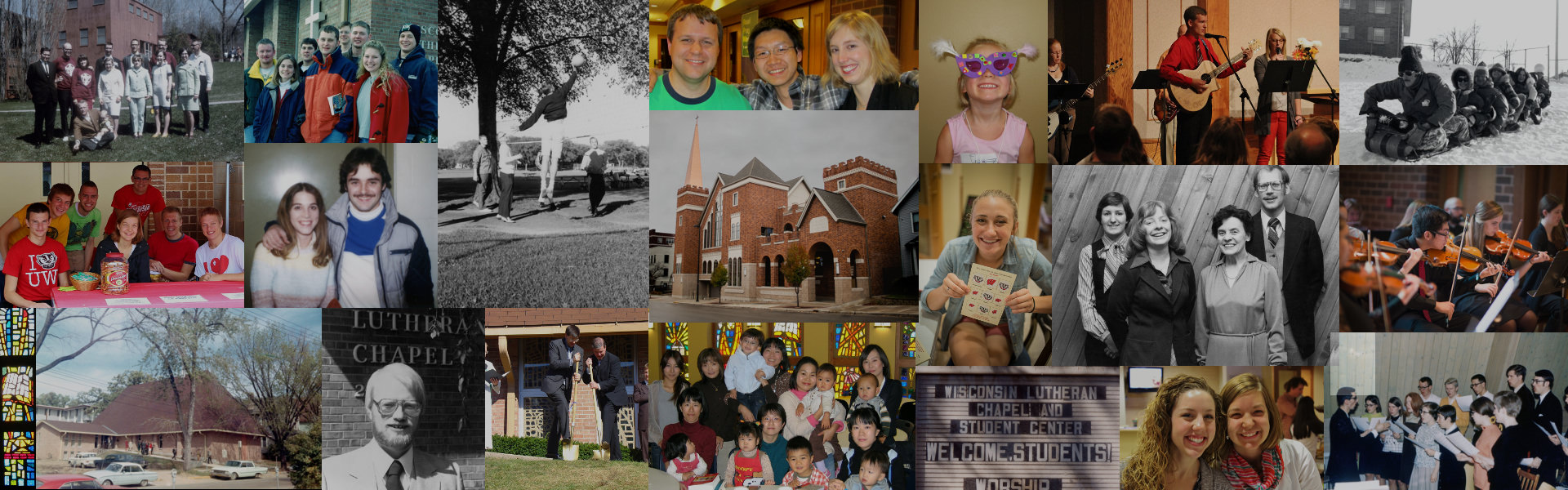 A collage of photos from Wisconsin Lutheran Chapel's ministry over the years